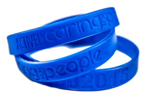 An image of three blue AC4P bracelets