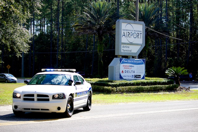 GPD Patrol Car, a Dodge Charger, at the Gainesville Airport entrance